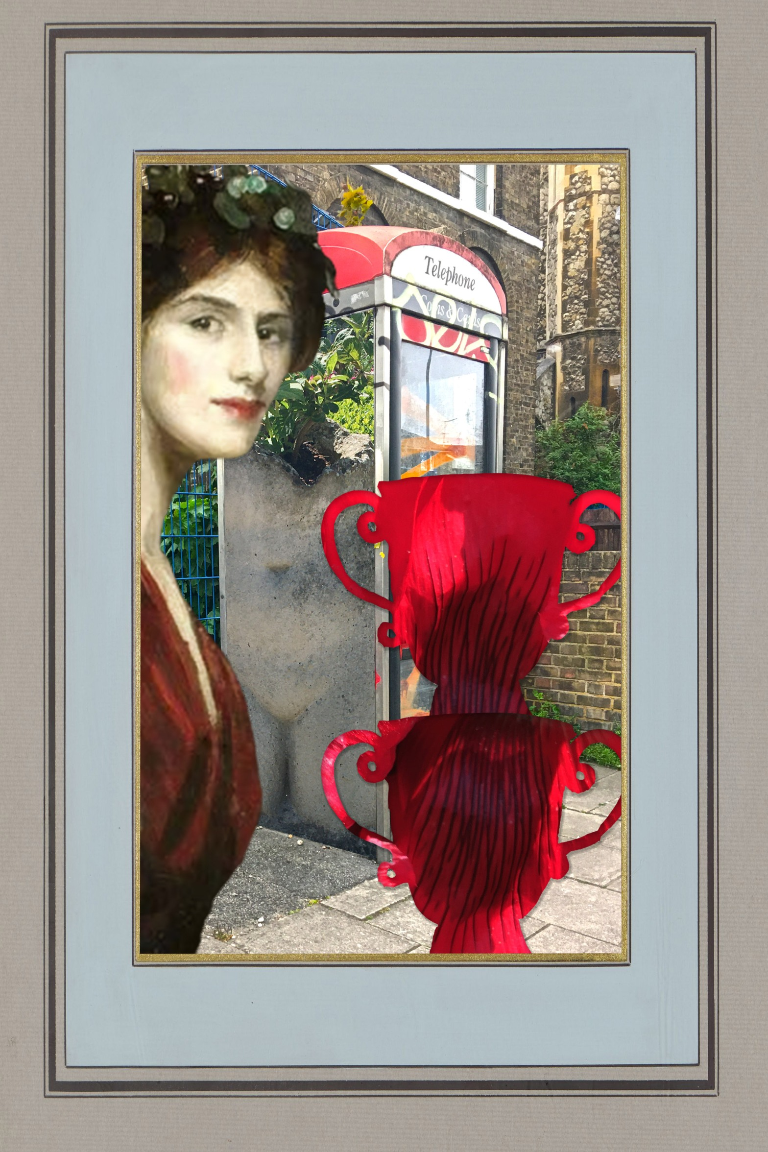 """John Lavery's """"Mrs. Ralph Peto as a Bacchanate"""" (1910) in front of a phone booth on Evelyn Street, Deptford, which has on it a female torso planter from in front of the Charleston Gift Shop. Next to the figure are two urns featuring poppies from Charleston Farm (Shannon R. Smith photograph urn sold at the Charleston Gift Shop). Everything is within a frame from the Birmingham Museums Trust (1984P24)."""