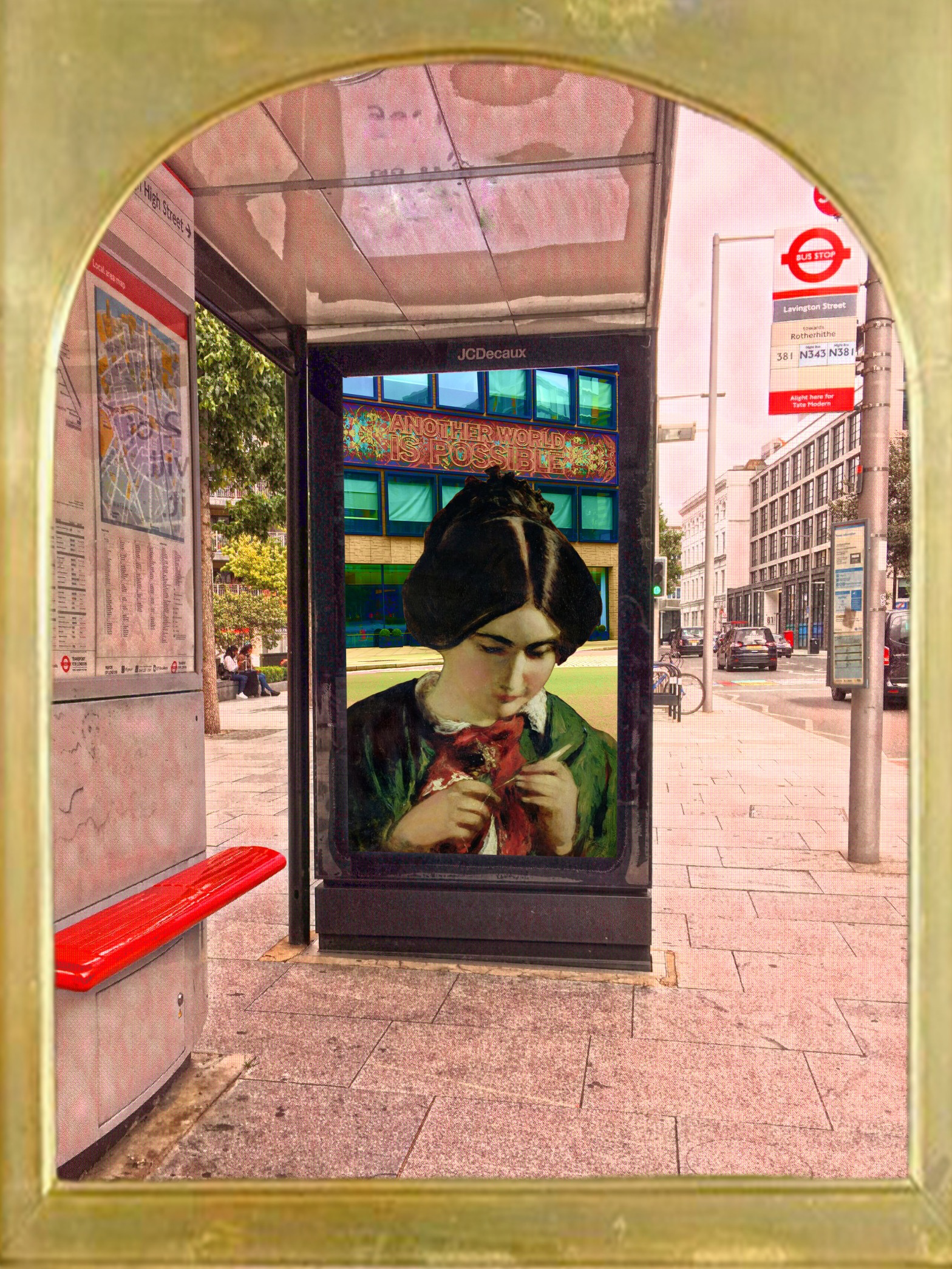 """William Etty's """"Study for The Crochet Worker"""" (1849) on a bus stop in front of a sign reading """"Another World is Possible"""" on Southwark Street near Lavington Street, Southwark, London"""