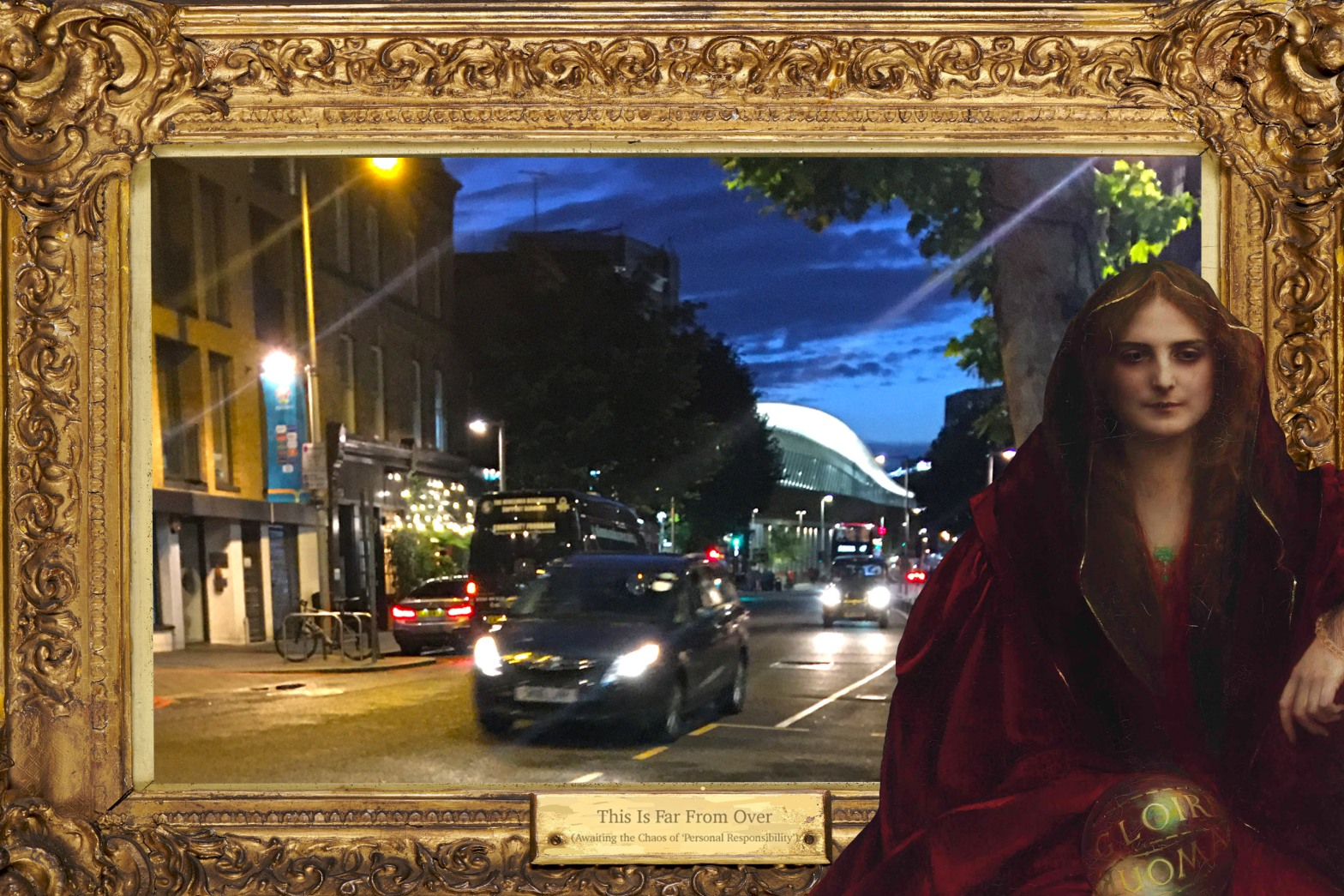 """""""This Is Far From Over"""" featuring Pascal-Adolphe-Jean Dagnan-Bouveret's """"Chimères"""" (n.d.), Tooley Street near London Bridge Station after sunset, and a gold frame from Birmingham Museums Trust (1905P8)"""
