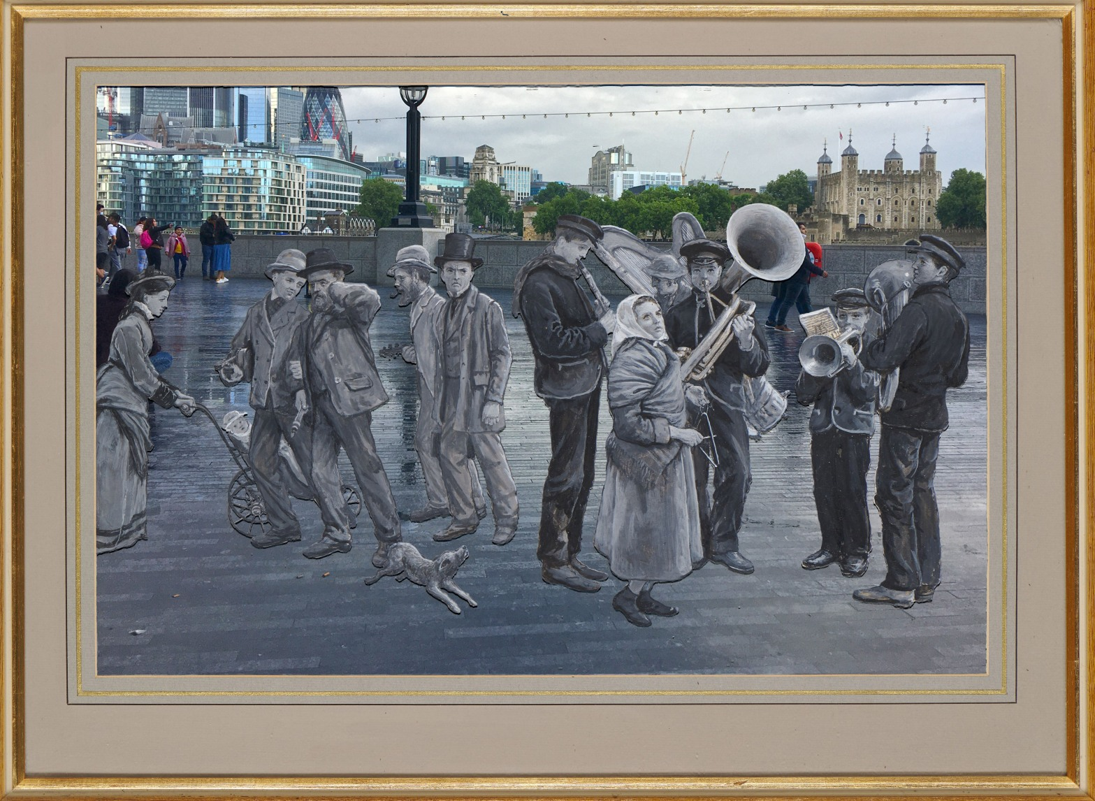 """Edward Richard Taylor's """"Street Scene with Musicians"""" (1876) on the Queen's Walk by the Thames, Southwark"""