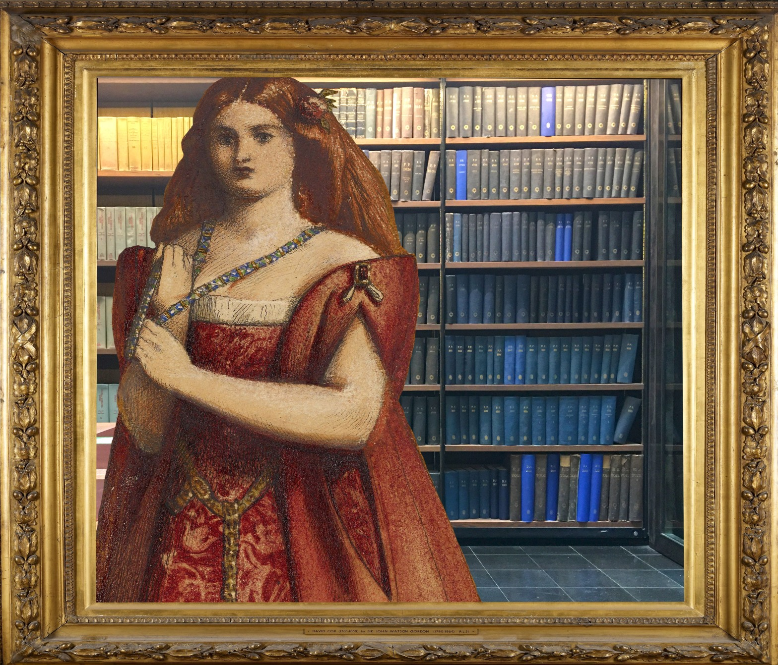 """Dante Gabriel Rossetti's """"Rosso Vestita"""" (Dressed in Red) (1850) in the Lightwell at the London Library, St. James's, London"""