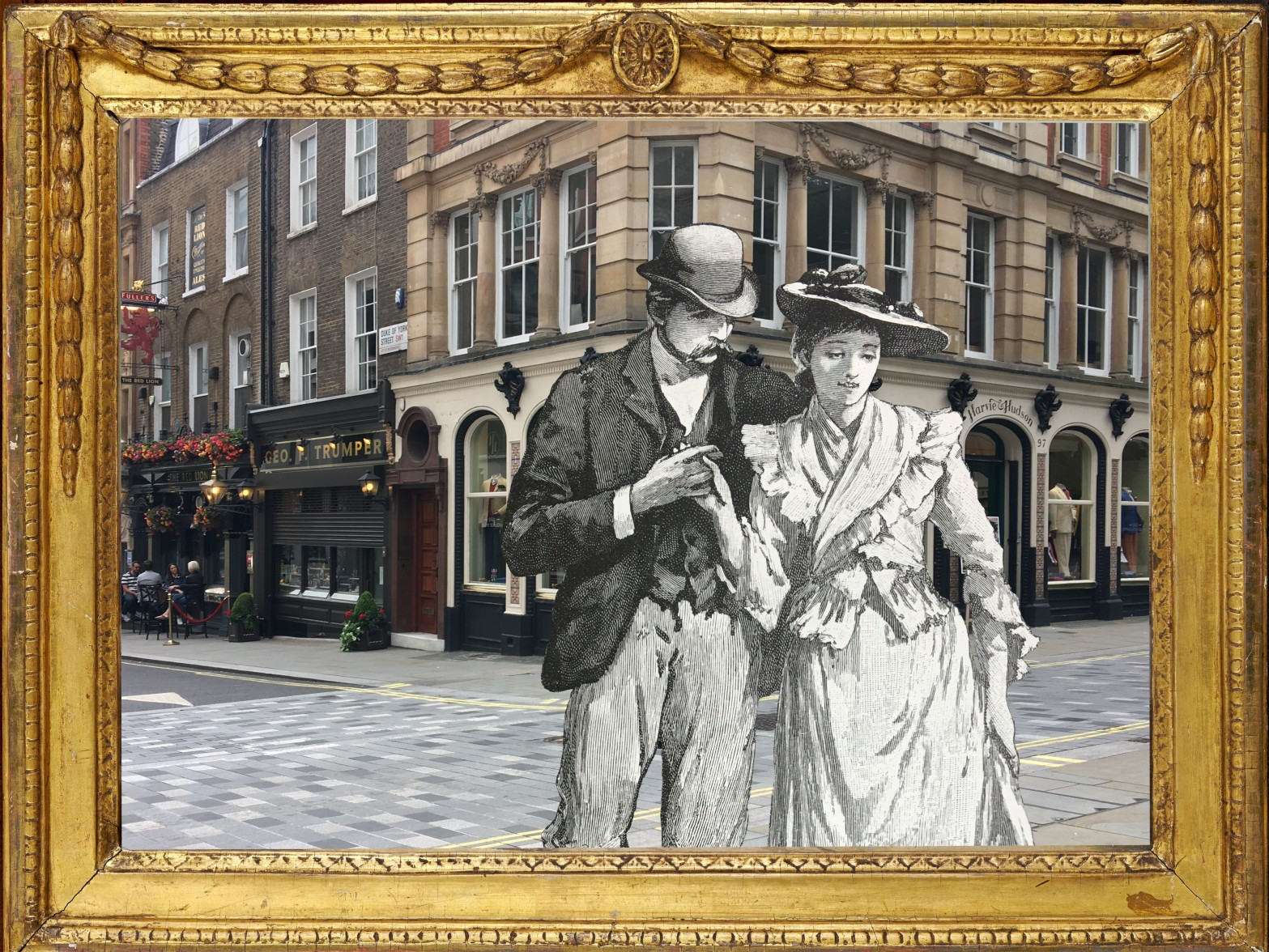 """Margaret I Dicksee's """"The Least Frequented Way"""" (1891) from Cassell's Family Paper (p. 203) on Jermyn Street, St. James's, London in gold frame from Birmingham Museums Trust (1953P360)"""