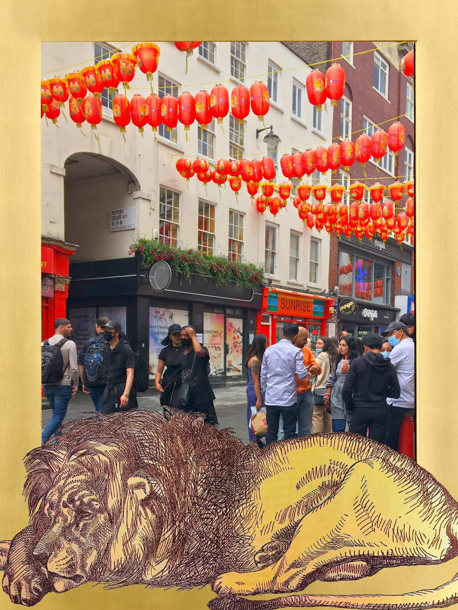 """Lion from John Tenniel's """"September XIV, MDCCCLII"""" (1852) from """"Punch"""" (vol. 23, p. 149) in front of a cluster of pedestrians on Wardour Street in Chinatown, Leicester Square, London"""