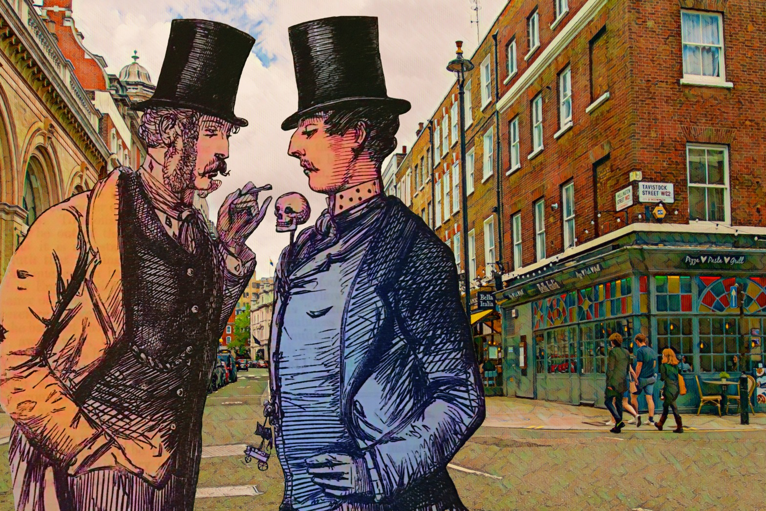 """Figures from John Leech's """"Taste"""" (1853) from """"Punch"""" (vol. 24, p. 168)(coloured) at the intersection of Wellington Street and Tavistock Street, Covent Garden, London"""