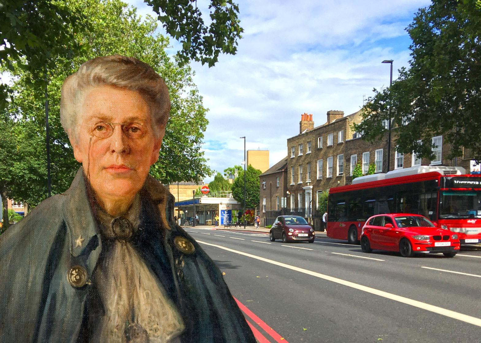 "Lawrence Deller's portrait of ""Sophia Sturge"" (1917) on Jamaica Road, Bermondsey, London"